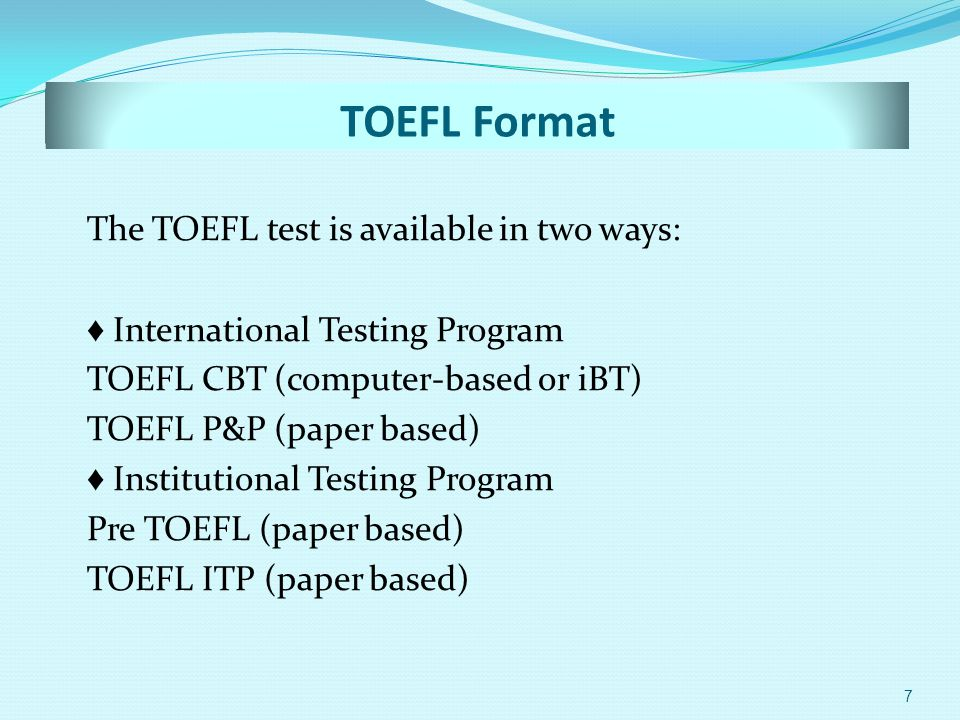 toefl paper based Test of english as a foreign language (toefl) paper-based test the paper-based (toefl) memo 8: graduate school english language proficiency requirements.