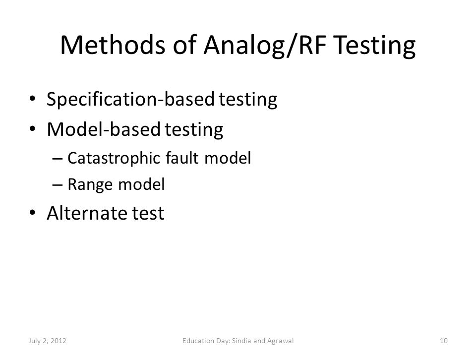 Methods of Analog/RF Testing