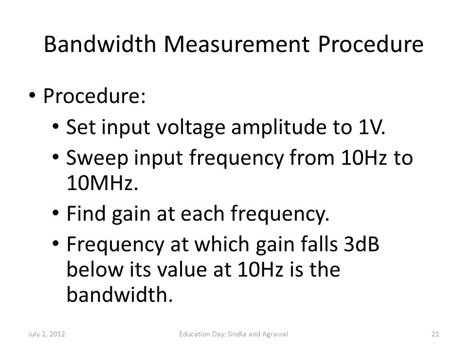 Bandwidth Measurement Procedure