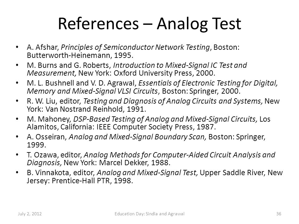 References – Analog Test