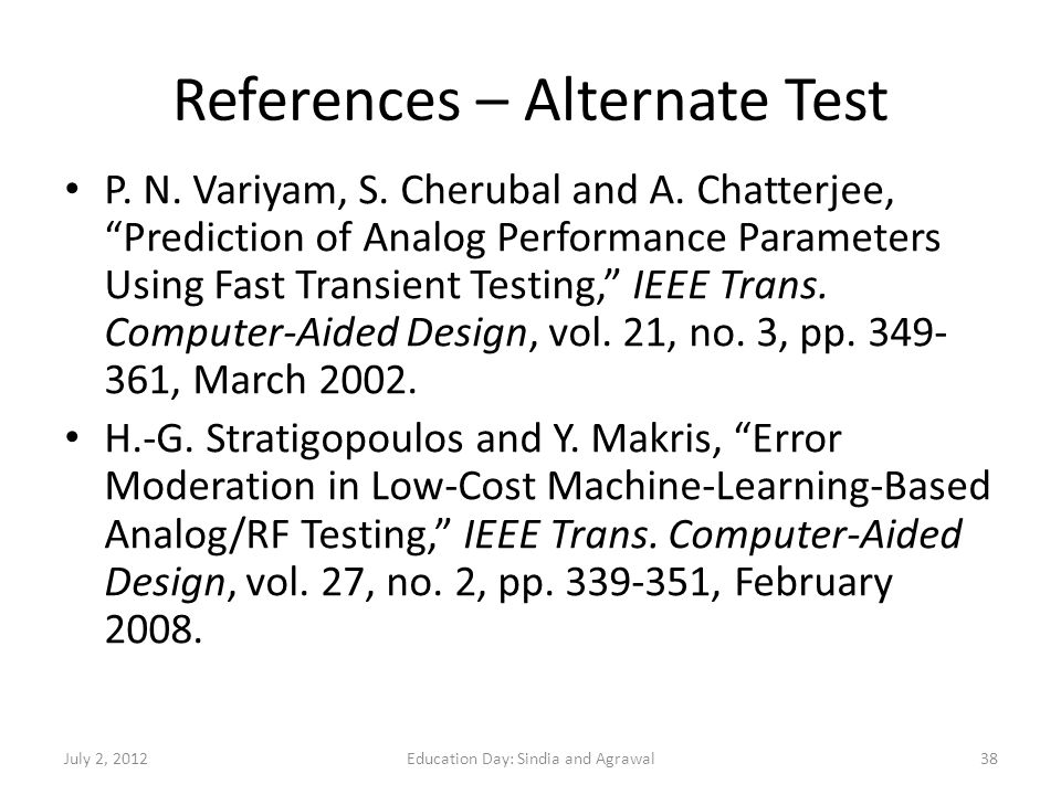 References – Alternate Test