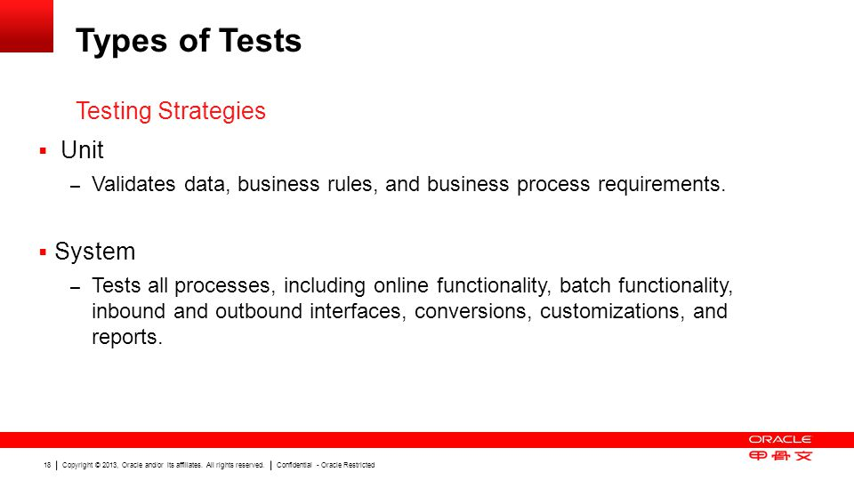 Types of Tests Testing Strategies Unit System