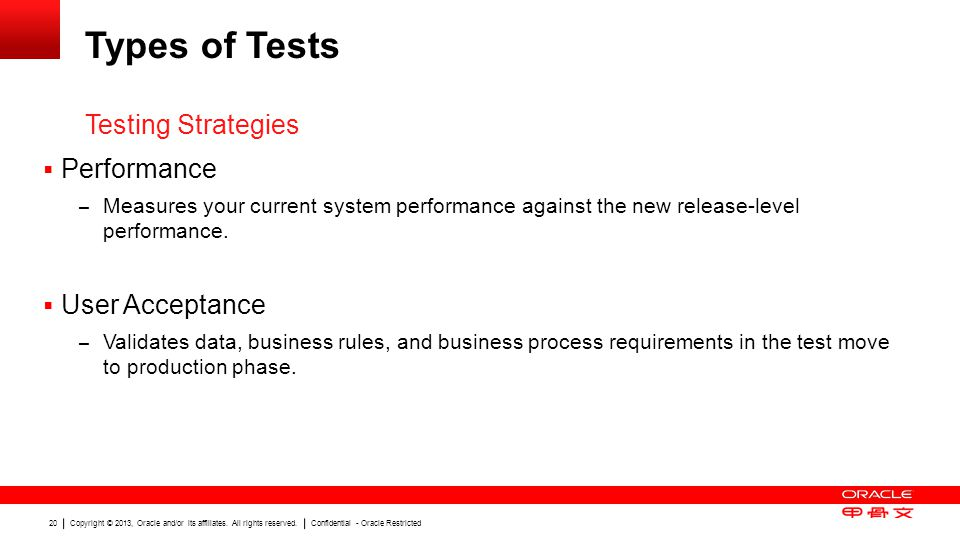 Types of Tests Testing Strategies Performance User Acceptance