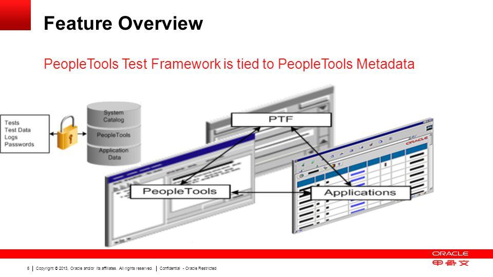 Feature Overview PeopleTools Test Framework is tied to PeopleTools Metadata