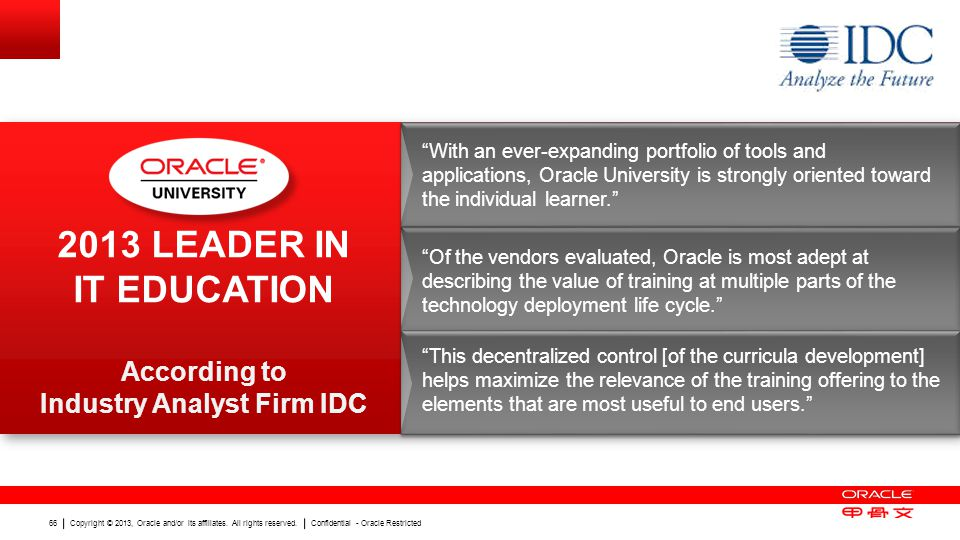 2013 leader in IT Education According to Industry Analyst Firm IDC
