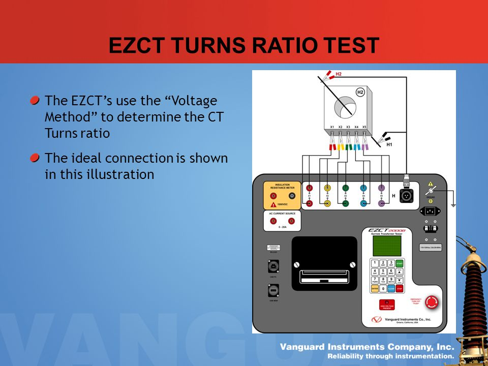 EZCT TURNS RATIO TEST The EZCT's use the Voltage Method to determine the CT Turns ratio.