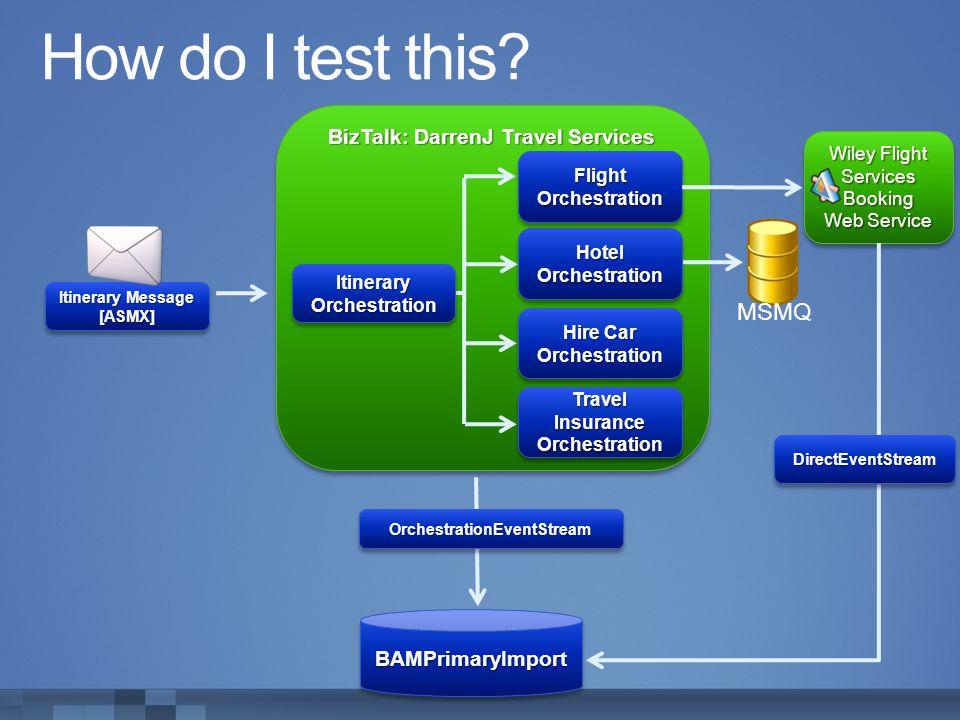 How do I test this MSMQ BizTalk: DarrenJ Travel Services