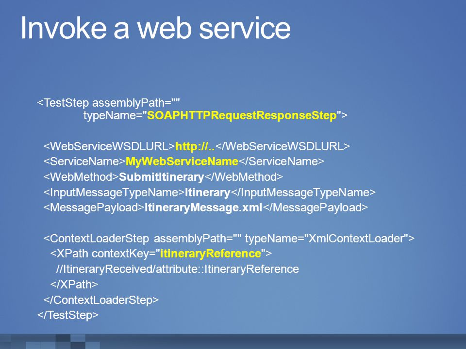 Invoke a web service <TestStep assemblyPath= typeName= SOAPHTTPRequestResponseStep > <WebServiceWSDLURL>http://..</WebServiceWSDLURL>