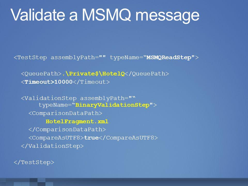 Validate a MSMQ message