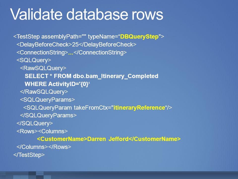 Validate database rows