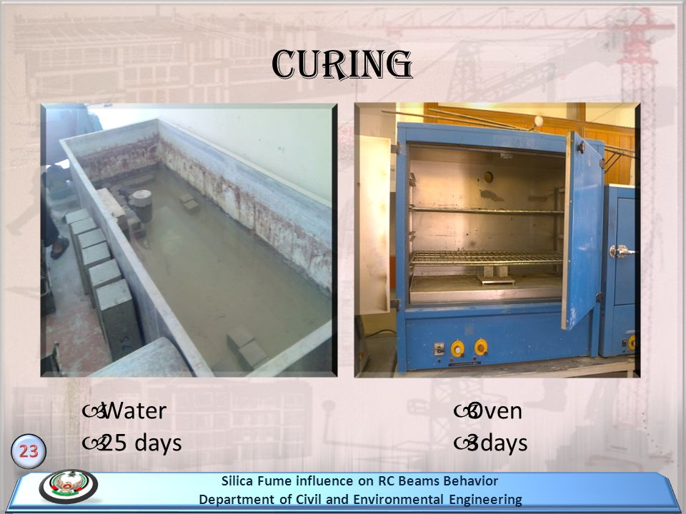 Curing Water 25 days Oven 3days 23