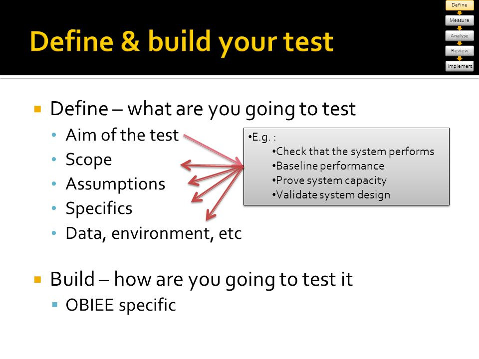 Define & build your test