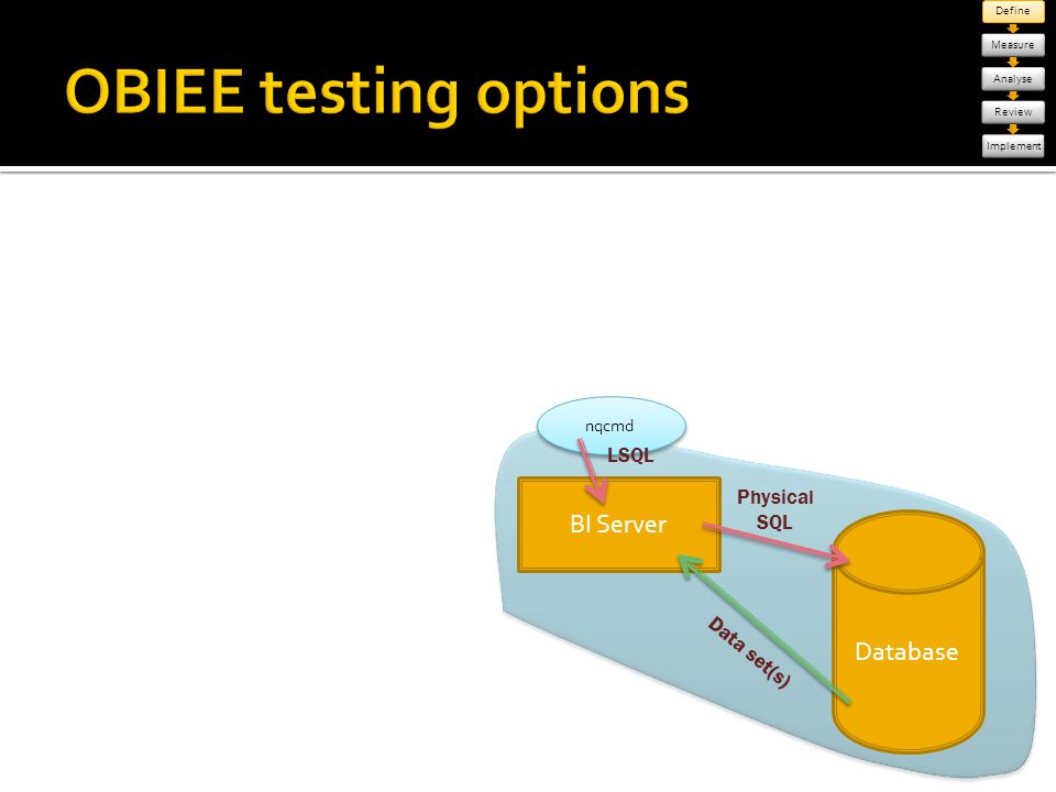 OBIEE testing options BI Server Database LSQL Physical SQL Data set(s)