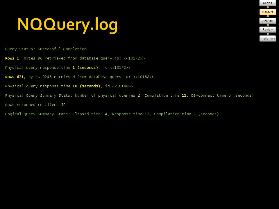 Define Measure. Analyse. Review. Implement. NQQuery.log.
