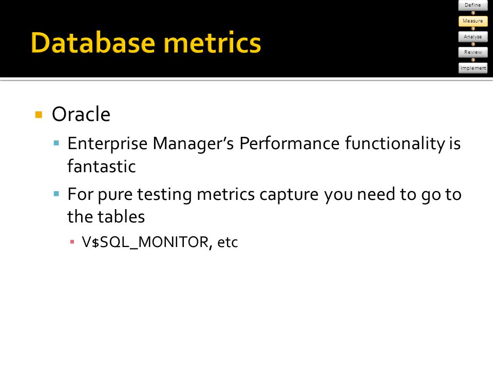 Database metrics Oracle