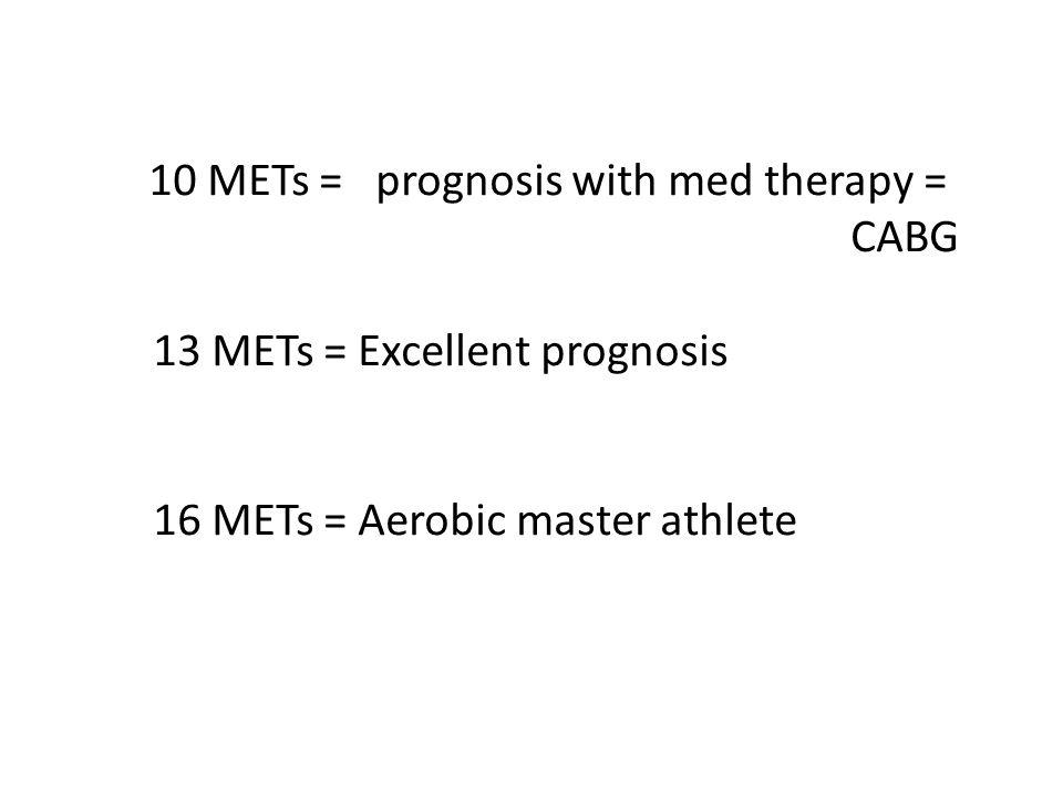 13 METs = Excellent prognosis