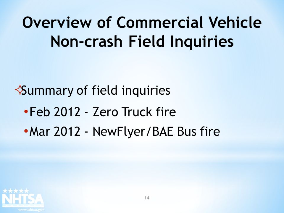 Overview of Commercial Vehicle Non-crash Field Inquiries