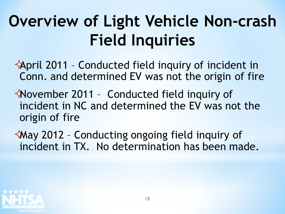 Overview of Light Vehicle Non-crash Field Inquiries