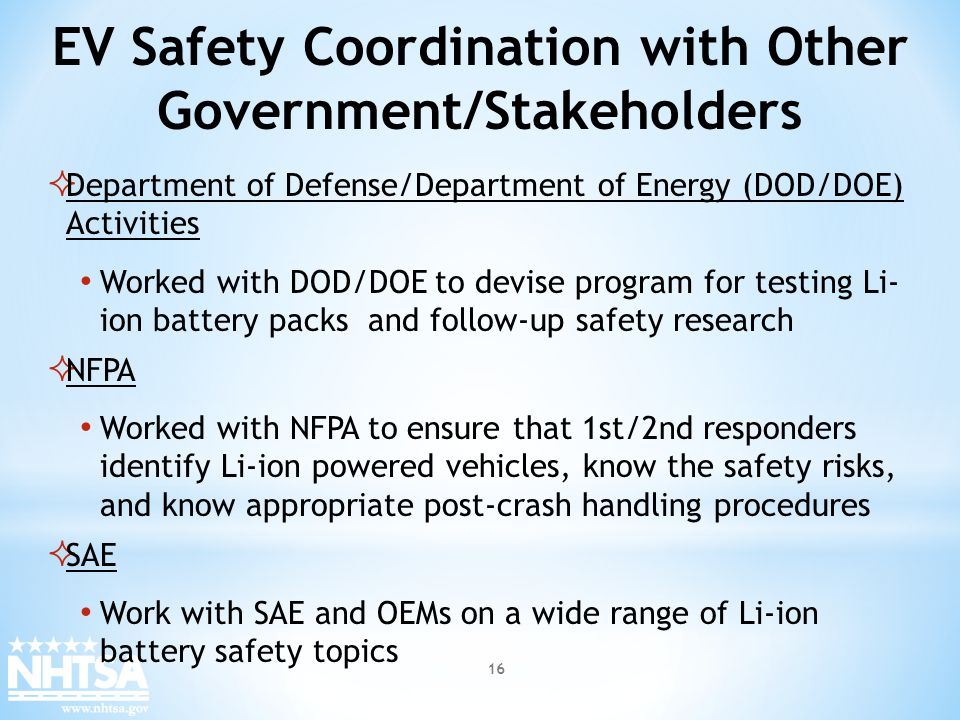 EV Safety Coordination with Other Government/Stakeholders