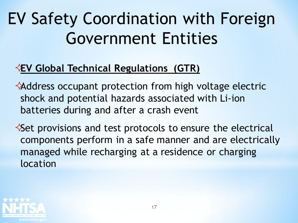 EV Safety Coordination with Foreign Government Entities