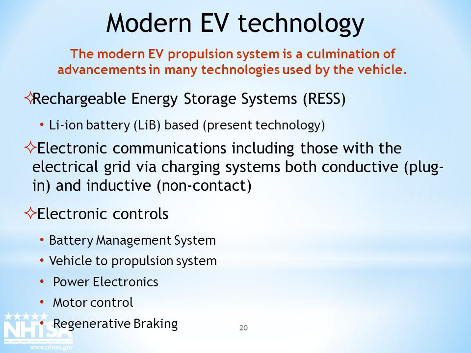 Modern EV technology Rechargeable Energy Storage Systems (RESS)