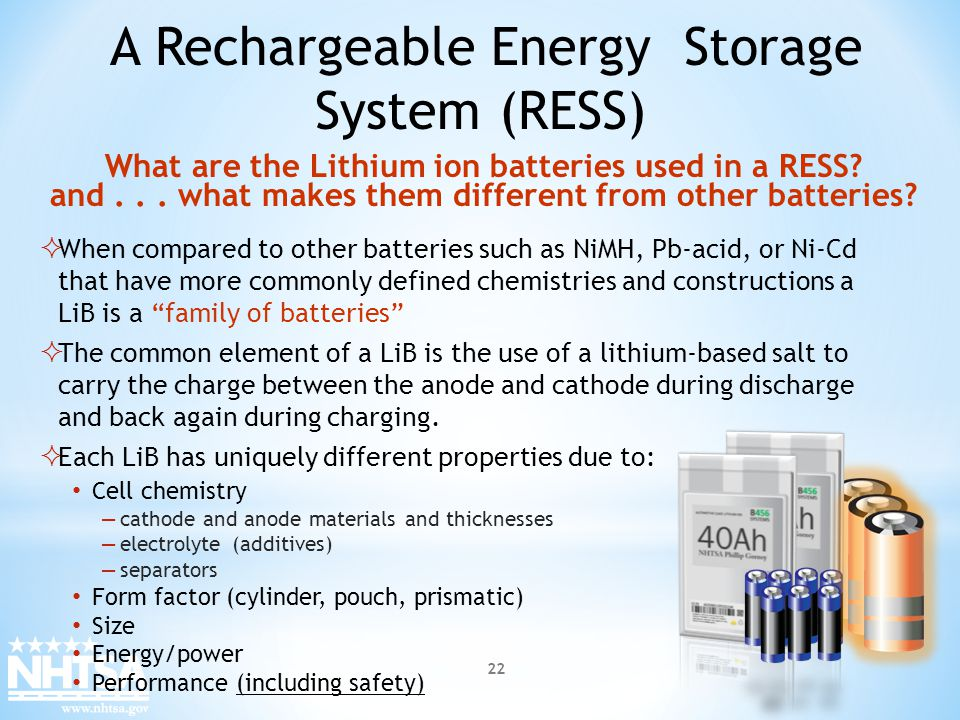 A Rechargeable Energy Storage System (RESS)