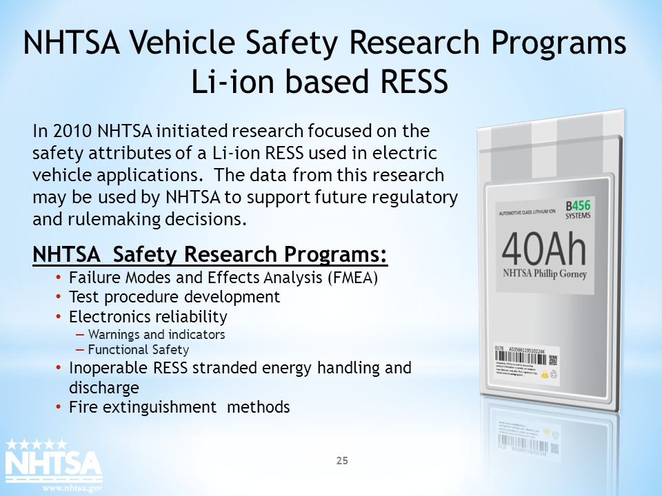 NHTSA Vehicle Safety Research Programs Li-ion based RESS