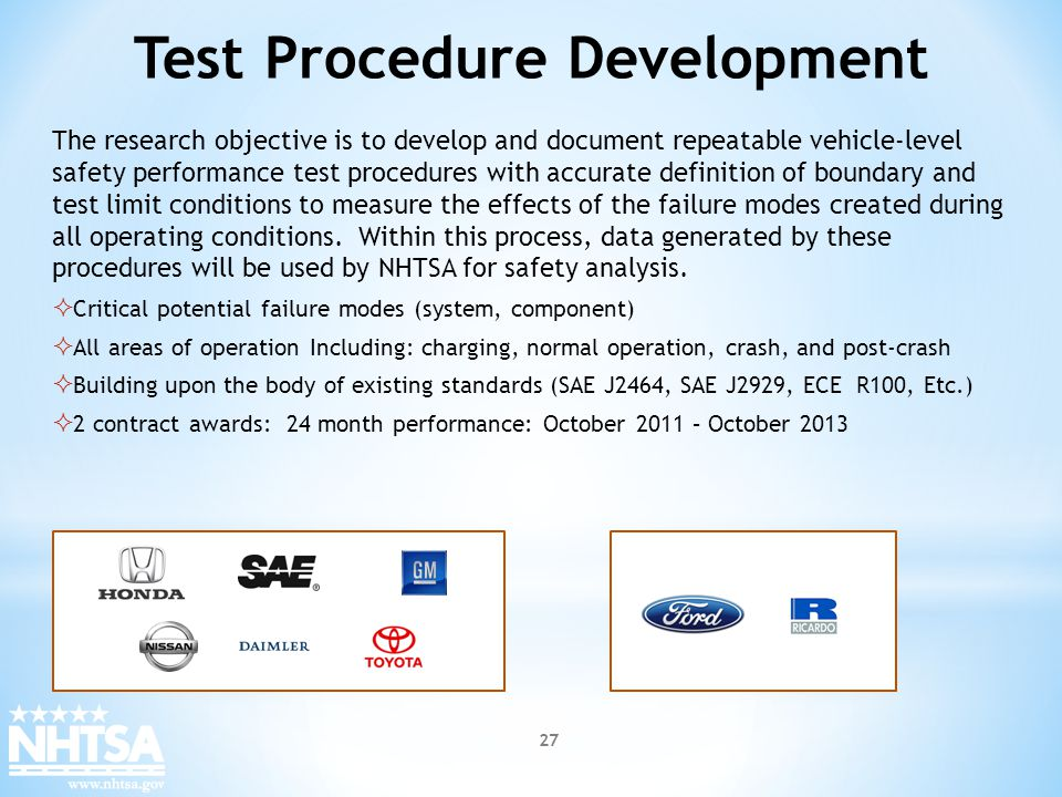 Test Procedure Development