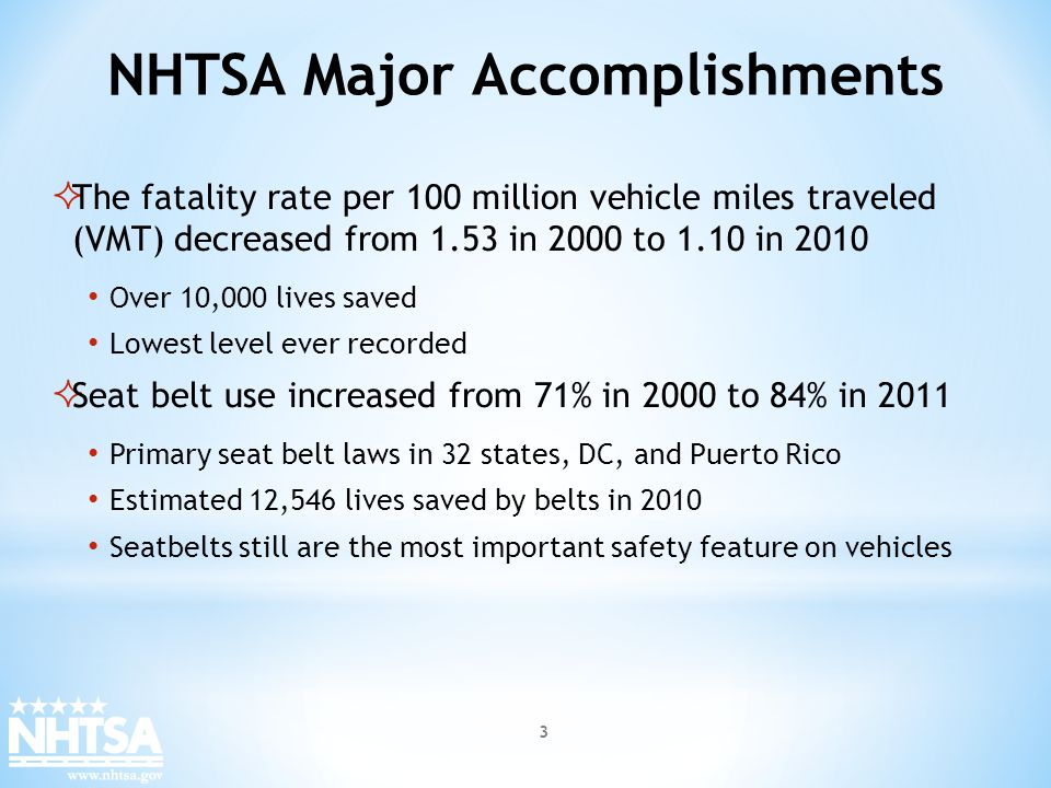 NHTSA Major Accomplishments