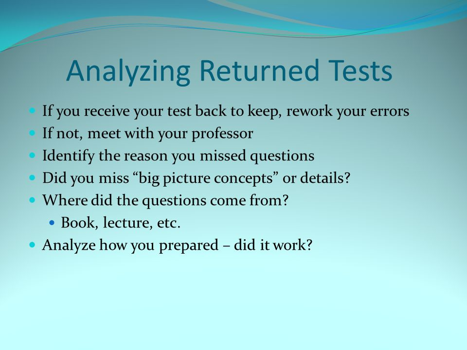 Analyzing Returned Tests