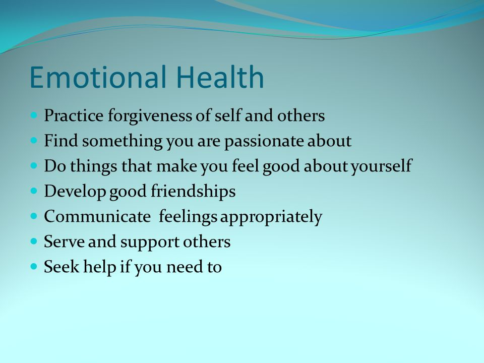 Emotional Health Practice forgiveness of self and others