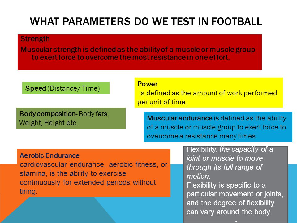 What parameters do we test in football