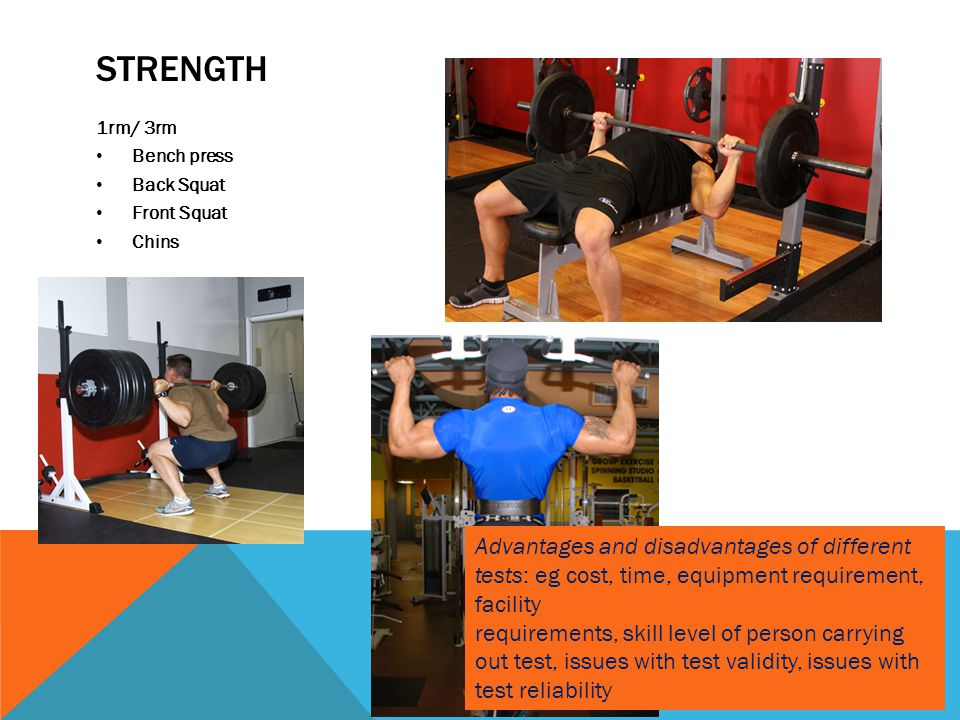 Strength 1rm/ 3rm. Bench press. Back Squat. Front Squat. Chins.