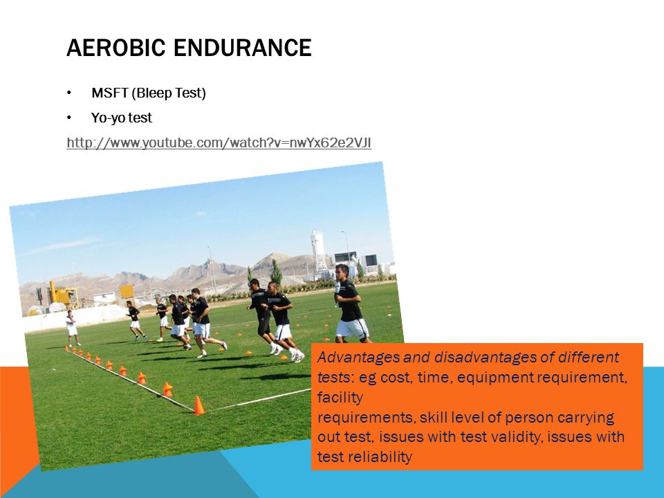 Aerobic Endurance MSFT (Bleep Test) Yo-yo test. http://www.youtube.com/watch v=nwYx62e2VJI.