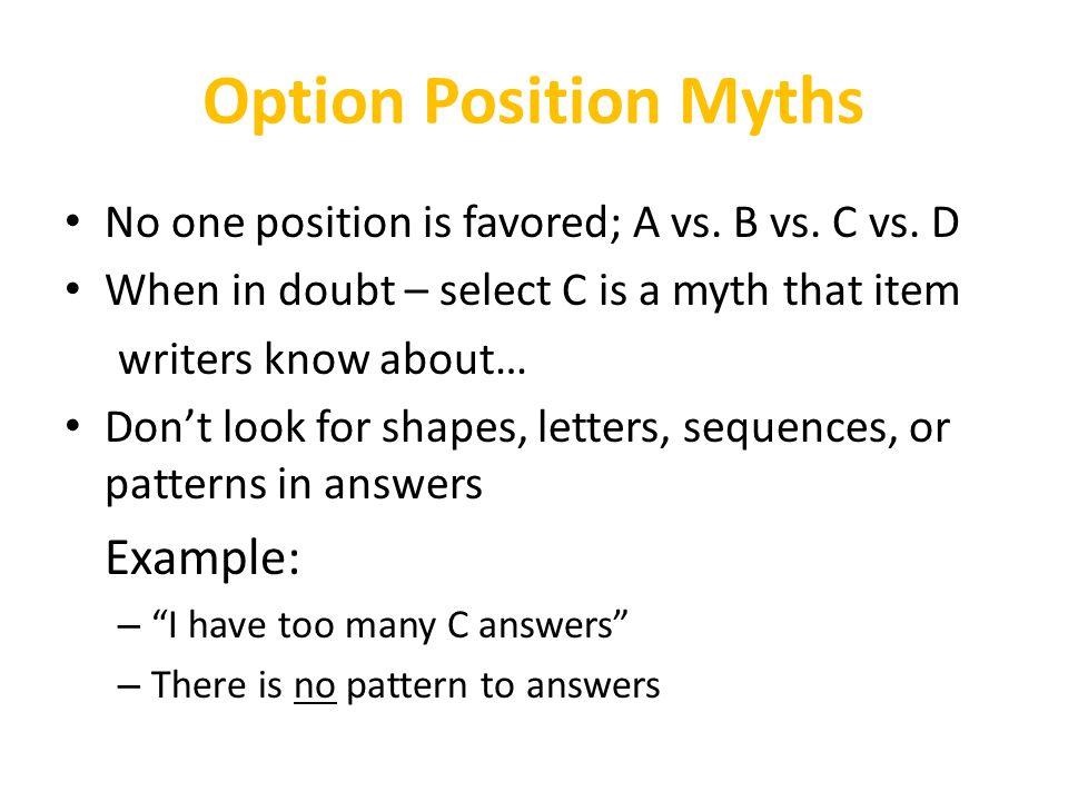 Option Position Myths Example: