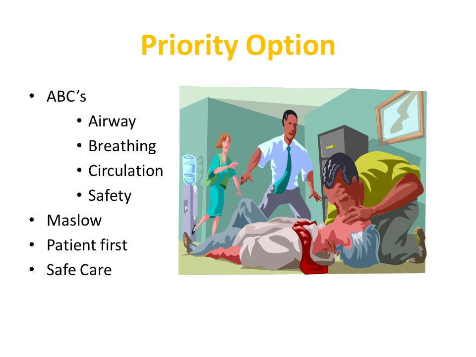 Priority Option ABC's Airway Breathing Circulation Safety Maslow