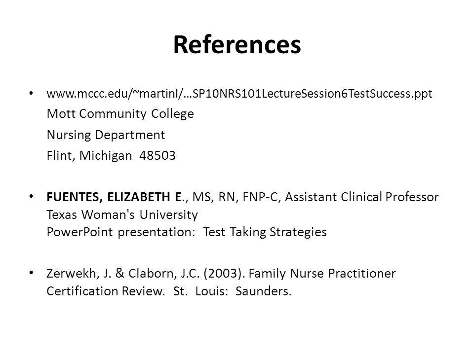 References Mott Community College Nursing Department