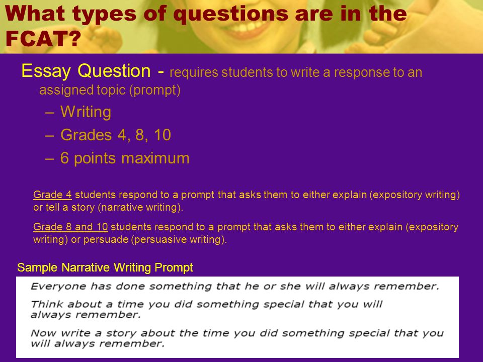 fcat writing prompts 10th grade Deeper look into fcat 20 writing by grade level although the testing format, scoring, and the 60-minute time period are consistent across the grade levels, there.