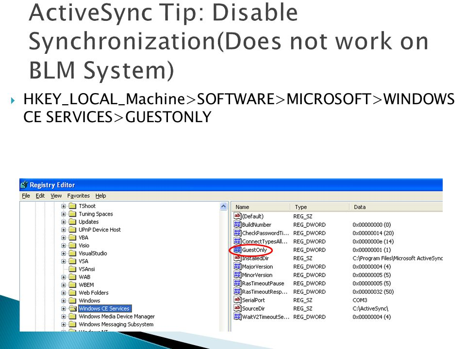 ActiveSync Tip: Disable Synchronization(Does not work on BLM System)