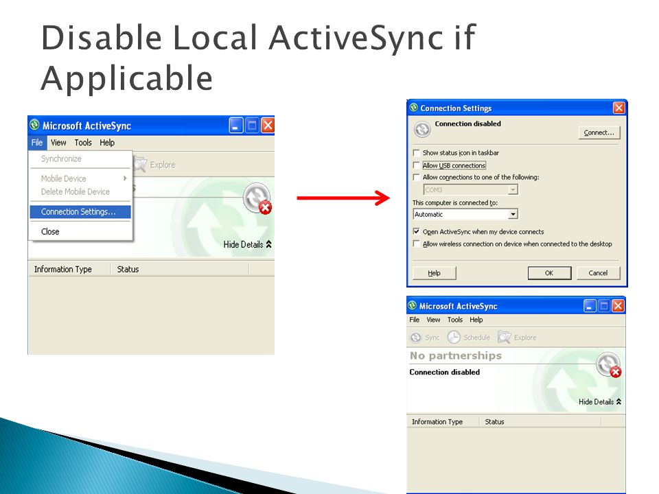 Disable Local ActiveSync if Applicable