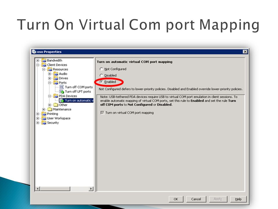 Turn On Virtual Com port Mapping