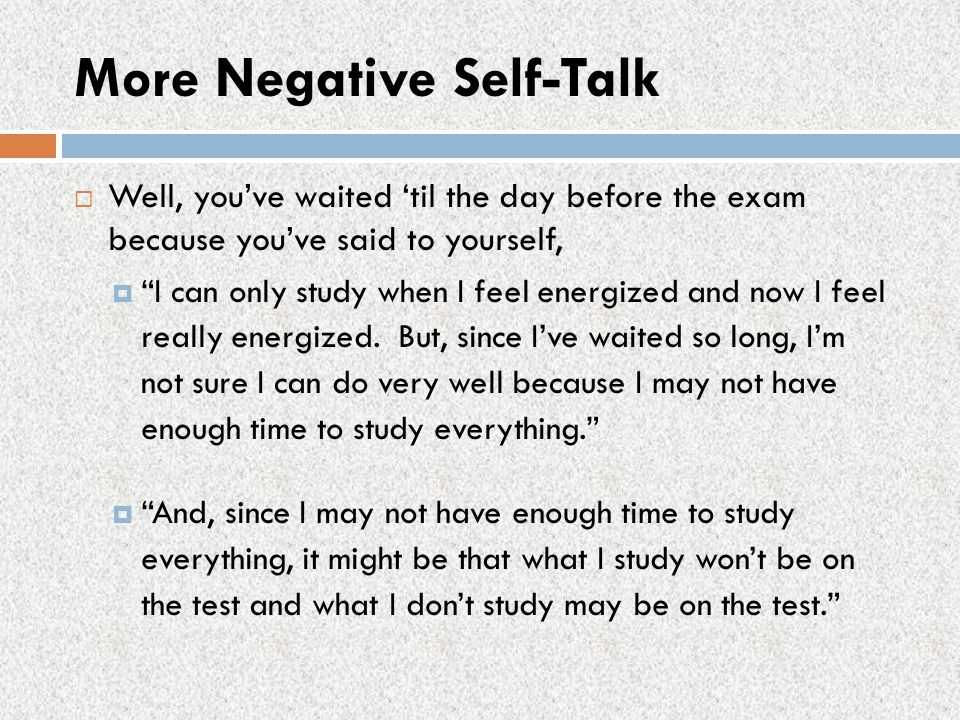 More Negative Self-Talk