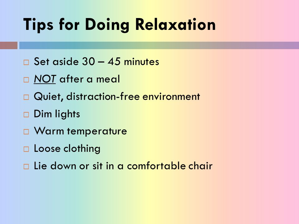 Tips for Doing Relaxation