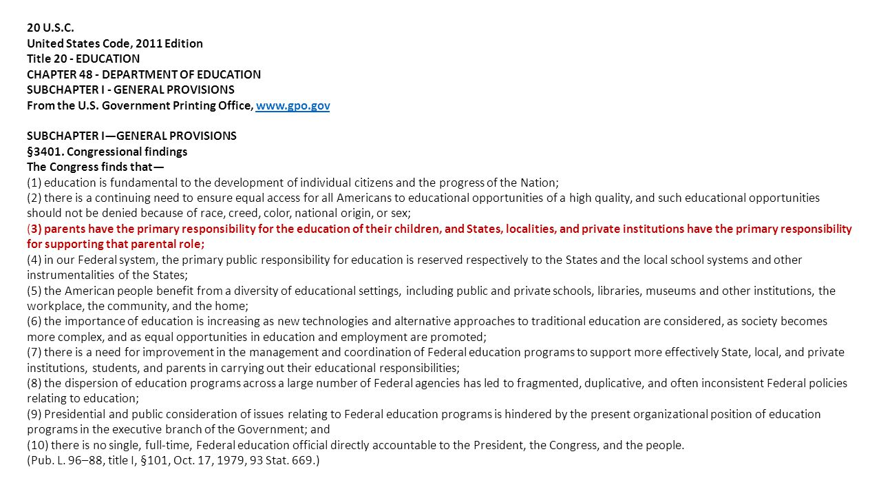 20 U.S.C. United States Code, 2011 Edition. Title 20 - EDUCATION. CHAPTER 48 - DEPARTMENT OF EDUCATION.