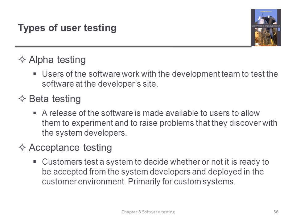 Chapter 8 Software testing