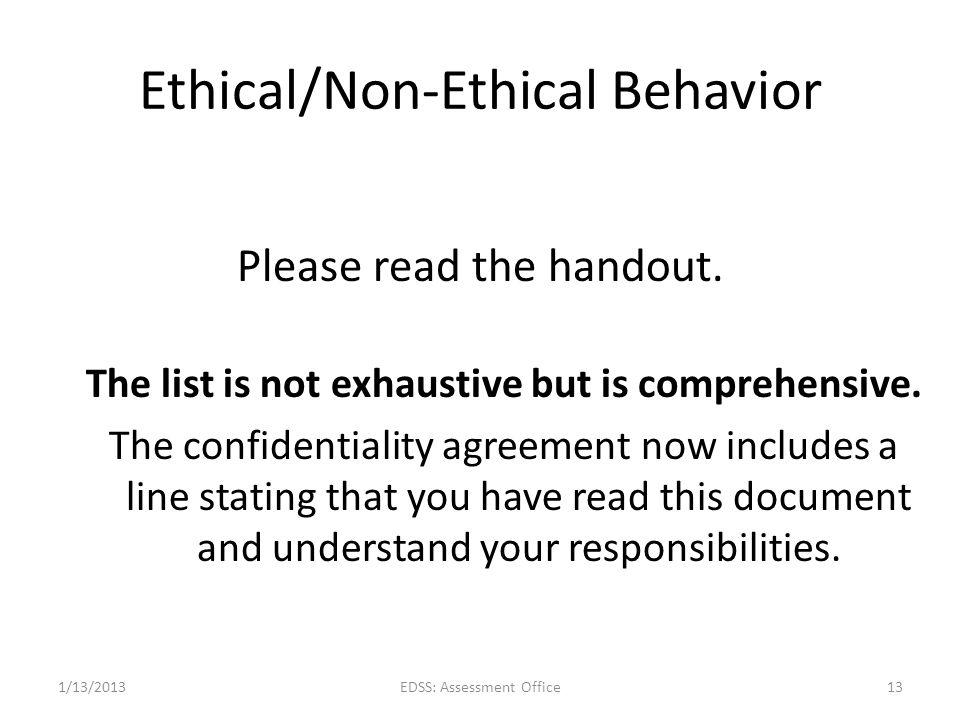 Ethical/Non-Ethical Behavior