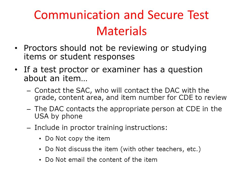 Communication and Secure Test Materials