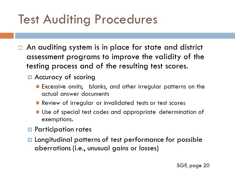 Test Auditing Procedures
