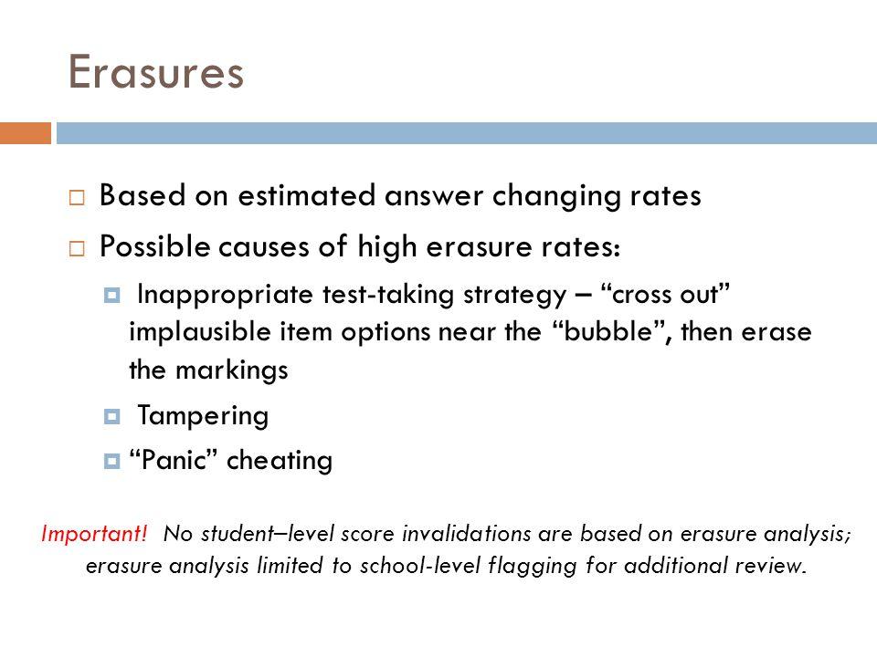 Erasures Based on estimated answer changing rates