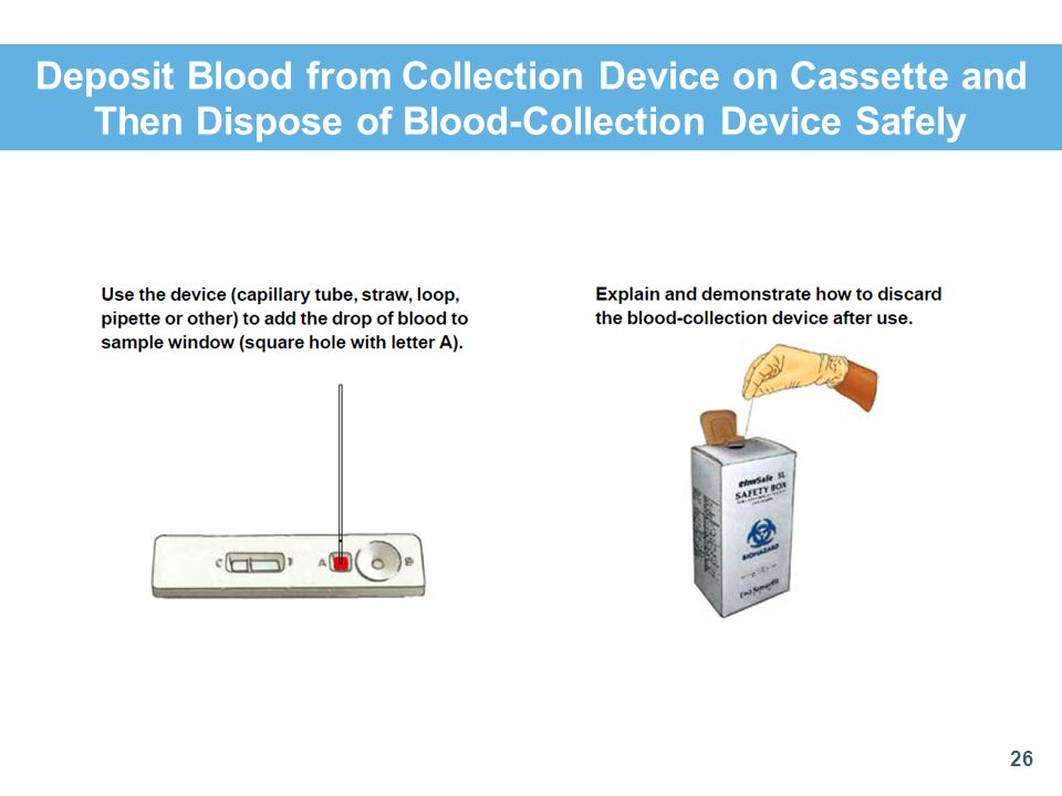 Deposit Blood from Collection Device on Cassette and Then Dispose of Blood-Collection Device Safely